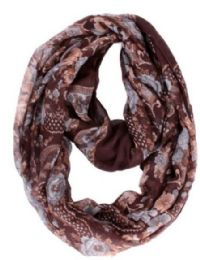 72 Units of Women's Calico Print Light Weight Infinity Scarf - Womens Fashion Scarves