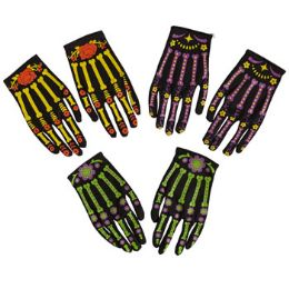 48 Units of Day Of The Dead Gloves - Costumes & Accessories