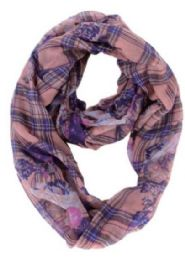 72 Units of Women's Floral & Plaid Print Light Weight Infinity Scarf - Womens Fashion Scarves