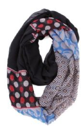 72 Units of Women's Geometric Print Light Weight Infinity Scarf - Womens Fashion Scarves