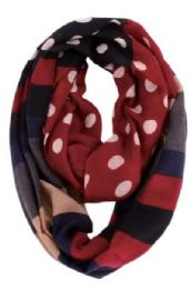 72 Units of Women's Polka Dot Print Light Weight Infinity Scarf - Womens Fashion Scarves