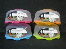 24 Units of Cake Saver With Locking Lid Clear Top Colored Base - Frying Pans and Baking Pans