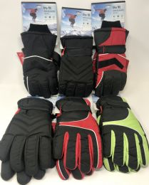 12 Units of Trufit Mens Insulated Waterproof Ski Gloves Asst Colors - Ski Gloves