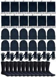 240 Units of Winter Bundle Care Kit For Men, 4 Piece - Hats Gloves Beanie Fleece Scarf Set In Solid Black - Winter Care Sets