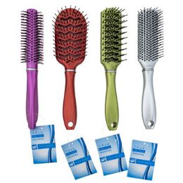 48 Units of Hair Brush Metallic 4 Assorted Styles - Hair Brushes & Combs