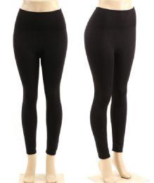 48 Units of Women's Black Fleece Lined Leggings One Size - Womens Leggings