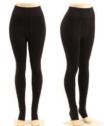 48 Units of Women's Black Fur Lined Leggings One Size - Womens Leggings