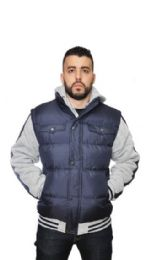 12 Units of MEN'S FASHION NYLON FLEECE STRIPED HOODED JACKETS - Men's Winter Jackets