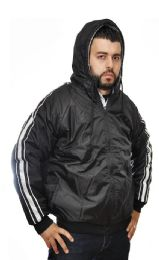 12 Units of Men's Fashion Nylon Fleece Striped Hooded Jacket - Men's Winter Jackets
