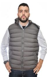 12 Units of Men's Nylon Synthetic Down Hooded Puffer Vest - Men's Winter Jackets