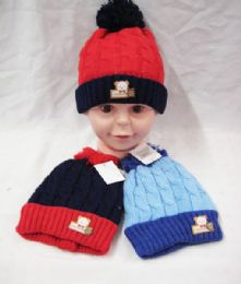 36 Units of Kid Winter Hat With Teddy Bear Assorted Color - Winter Beanie Hats