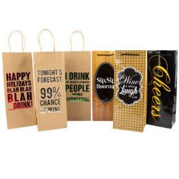 36 Units of Bottle Gift Bag Paper - Christmas Gift Bags and Boxes