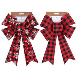 24 Units of Bow Buffalo Check Xmas - Christmas Decorations