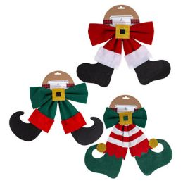 24 Units of Bow Christmas Character Velvet Xmas - Christmas Decorations