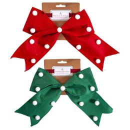 36 Units of Bow Felt Wired Red Green With White Pom Pom Accents - Christmas Decorations