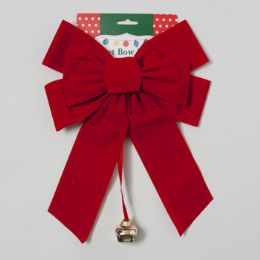 36 Units of Bow Red Velvet With Bell Loop Christmas Tie Card - Christmas Decorations