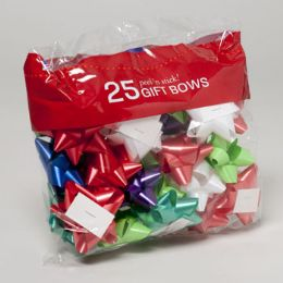 48 Units of Bows Christmas Peel And Stick Assorted Colors - Christmas Gift Bags and Boxes