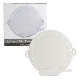 6 Units of Cake Platter With Server Embossed White Dolomite Color Boxer - Serving Trays