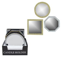 36 Units of Candle Plate Mirror Glitter Trim Round Square Gold And Silver - Candles & Accessories