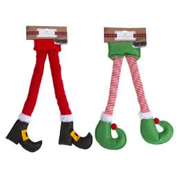 24 Units of Car Door Elf Or Santa Felt Leg Decor - Christmas Decorations