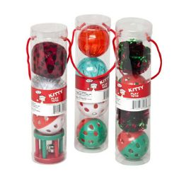60 Units of Cat Toy Christmas Balls With Bells - Christmas Novelties