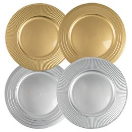24 Units of Charger Plastic Gold Or Silver For Decorative Use - Christmas Novelties
