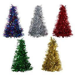 48 Units of Christmas Tree Tinsel Cone Christmas Hat - Christmas Novelties