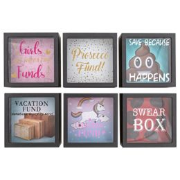24 Units of Coin Bank Square Plastic Shadow Box - Christmas Novelties