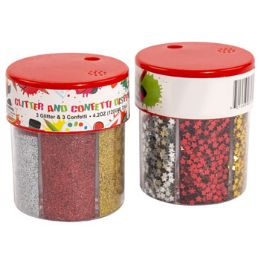 24 Units of Confetti And Glitter Dispenser Shaker Red Gold Silver Confetti - Christmas Novelties