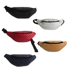 24 Units of Large Quilted Bulk Fanny Packs Belt Bags in 5 Assorted Colors - Fanny Pack