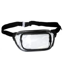 24 Units of Fanny Packs Clear Transparent Waist Travel Packs In Black - Fanny Pack