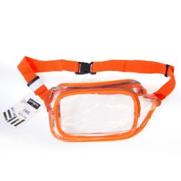 24 Units of Fanny Packs Clear Transparent Waist Travel Packs In Orange - Fanny Pack