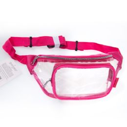 24 Units of Fanny Packs Clear Transparent Waist Travel Packs In Pink - Fanny Pack