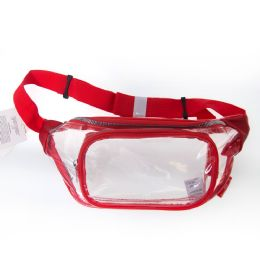 24 Units of Fanny Packs Clear Transparent Waist Travel Packs In Red - Fanny Pack