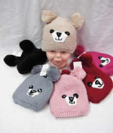 36 Units of KID WINTER KNITTED HAT WITH FUR LINED AND PO POM - Winter Beanie Hats