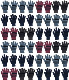 48 Units of Yacht & Smith 48 Pack Wholesale Bulk Winter Gloves Unisex (Stripe Gloves A) - Knitted Stretch Gloves