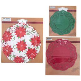 108 Units of Doilies Xmas Print And Solid - Christmas Novelties