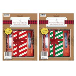 96 Units of Door Cover With Bow Candy Stripe Design - Christmas Decorations