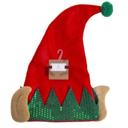 24 Units of Elf Hat With Ears Felt With Sequin Cuff - Christmas Novelties