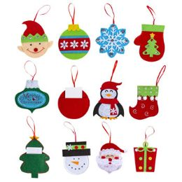 96 Units of Gift Card Ornament Felt Pocket Back - Christmas Gift Bags and Boxes