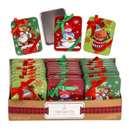 48 Units of Gift Card Tin With bow On Lid - Christmas Gift Bags and Boxes