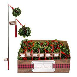 24 Units of Mistletoe Ball On Extendable Stick - Christmas Novelties