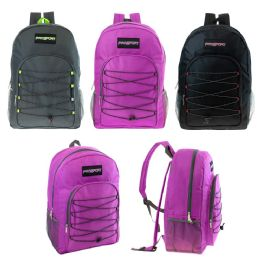 "24 Units of 19"" Bungee Backpack in 3 Assorted Colors - Backpacks 18"" or Larger"