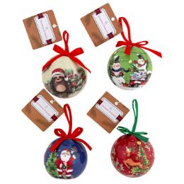 24 Units of Ornament Ball With Print - Christmas Ornament
