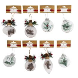 48 Units of Ornament Clear With Winter Scene - Christmas Ornament