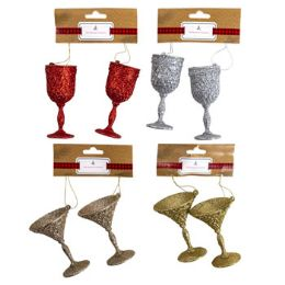 48 Units of Ornament Glitter Stemware - Christmas Ornament