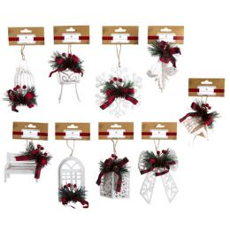 36 Units of Ornament White Glitter With Greens Christmas Styles - Christmas Ornament