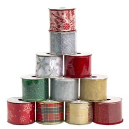 48 Units of Ribbon Wire Christmas - Christmas Novelties