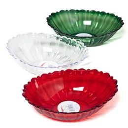 48 Units of Serving Bowl Oval W/scallop Lip Cut Glass Look Christmas - Christmas Novelties