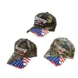 24 Units of Camo TRUMP 2020 Hat Keep America Great w Flag Bill - Baseball Caps & Snap Backs